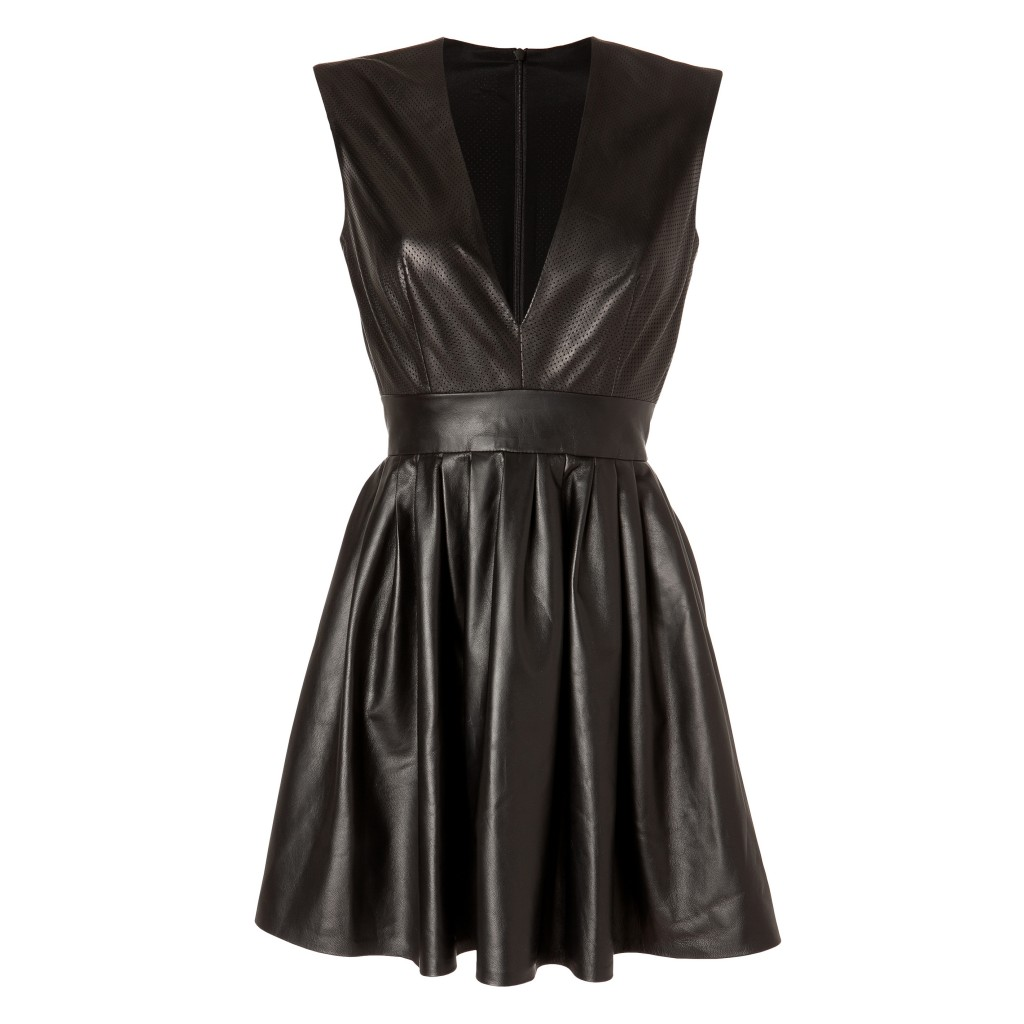 MAX-FOWLES-Black-Perforated-Leather-Dress
